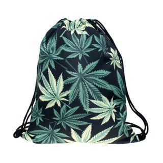 Women black weed drawstring Backpack 3D printing travel softback