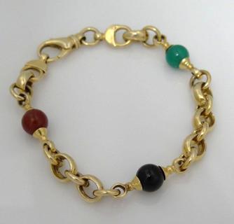 "14k Yellow Gold Gemstone Bracelet 7 3/4"" 12.9g"