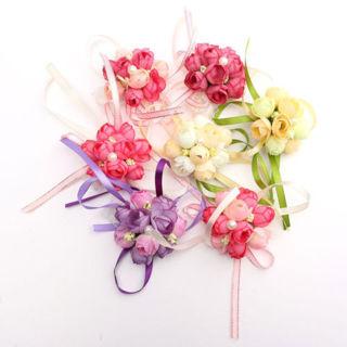 2PCs Delicate Wrist Corsage Bracelet Bridesmaid Sisters Hand Flowers Wedding Party
