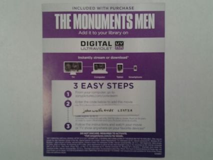 The Monuments Men Ultraviolet Code ( Brand New ) Experation Date 12 / 31 / 2017