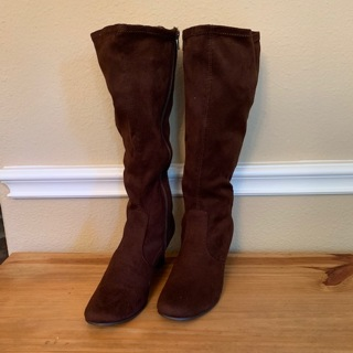 ❤️ Brand New Women's Brown Suede Knee High Wedge Heel Boots Shoes - Size 8 ❤️