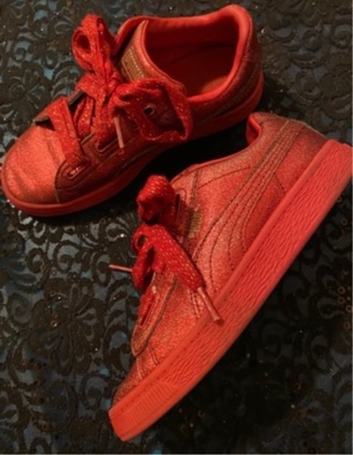 Red sparkly puma sneakers Size 3