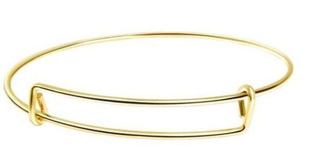 Gold-tone Expandable Blank Bangle Bracelet 4B (PLEASE READ DESCRIPTION)