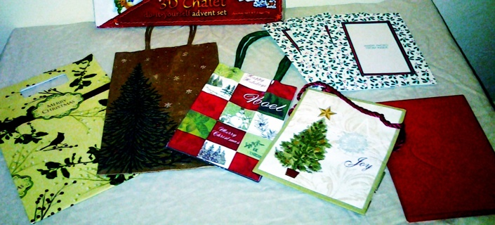 Holiday gift kit & vintage advent calendar - bags, cards & envelopes, 3d advent - free shipping