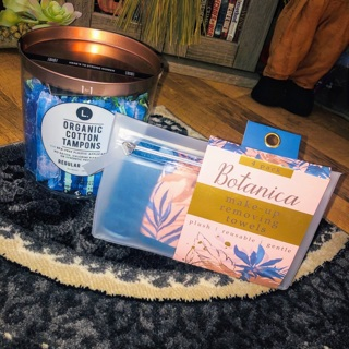 Organic cotton tampons BPA-free plastic applicators + facial towel set