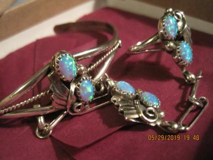 Vintage, Used Sterling Silver Opal Slave Bracelet   (ring size 9)
