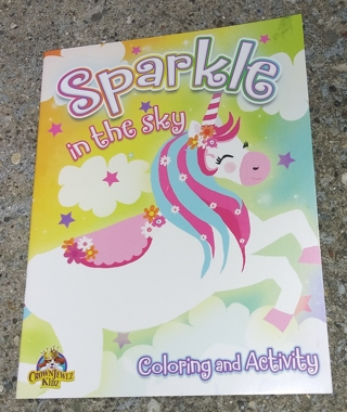 MEDIUM COLORING AND ACTIVITY BOOK SPARKLE IN THE SKY UNICORN PIG UNICORN BEAR GIRLS
