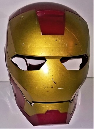 "2008 Marvel Iron Man hard plastic Halloween Mask with Velcro strap - child's size 9"" X 7""  Pre-owned"