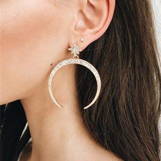 1 Pair/set Women's Fashion Retro Moon Star Gem Earrings Simple Pendant Gold Earrings Lady Party