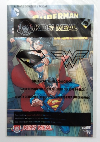 Lot of 2 Wendy's Fast Food Premiums Superman Wonder Woman Comic and Invisible Jet