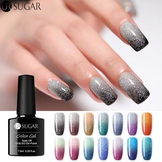 UR SUGAR Rainbow Thermal Color Changing Gel Nail Polish Holographic Glitter Temperature Soak Off U