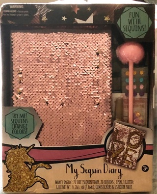 """BNIB """"My Sequined Diary""""! 70 pg Diary Sequins Gems Glitter Glue Fuzzy Pen Stickers Sticker Sheet"""
