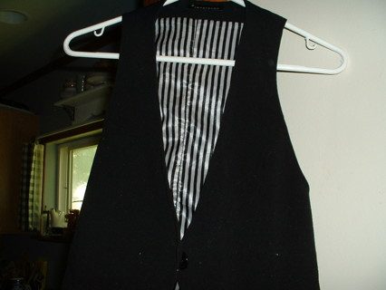 Black Rayon and Satin Stripe Vest for guys or girls