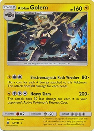NEW Alolan Golem 42/145 Holo Rare Sun & Moon: Guardians Rising Singles NM/MINT holographic foil