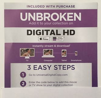 Free: Unbroken Digital HD UV or iTunes Copy Movie Code Only - Other