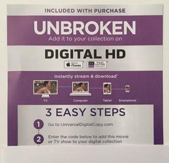 Free: Unbroken Digital HD UV or iTunes Copy Movie Code Only