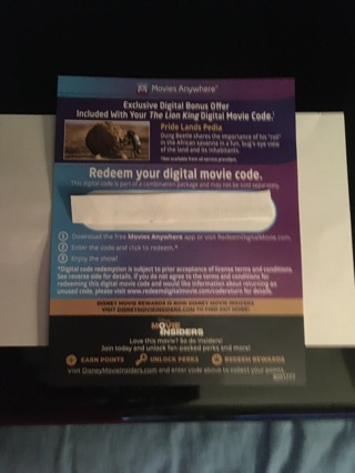 "'Lion King"" with Exclusive Digital Bonus Offer!!! Disney Code from Blue-Ray - Quick Delivery!!!"