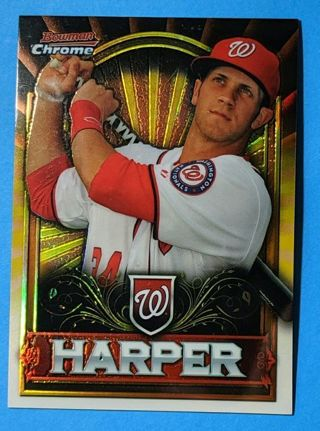 CHROME GOLD PARALLEL REFRACTOR BRYCE HARPER ROOKIE CARD