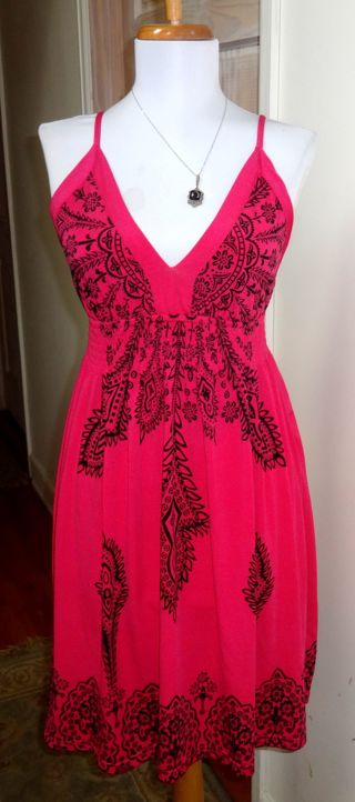 NWOT - I.C.O. HOT PINK AND BLACK SPAGHETTI STRAP DRESS - SIZE S