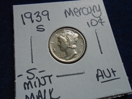 AU+ 1939-S MERCURY DIME -S- MINT MARK!