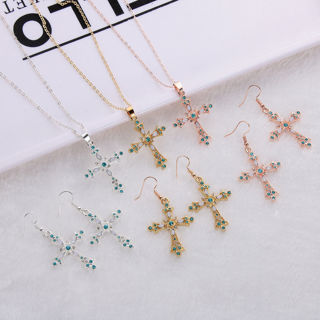 [GIN FOR FREE SHIPPING] God We Trust Cross Pendant Necklace Earrings Set