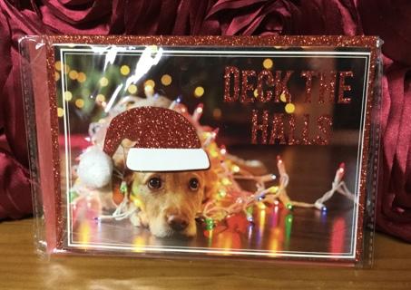 Dimensional Christmas Card-Dog wearing Santa Hat & Envelope