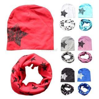 2pcs/set Toddler Infant Kids Girl Boy Baby Hat Cap +Star Print Neck Scarf