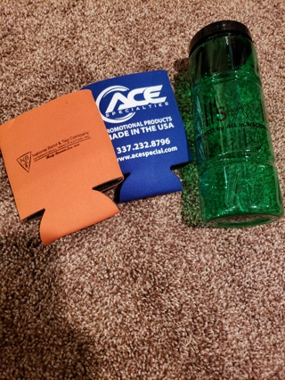 2 can koozies and waterbottle