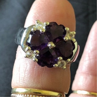 Sterling Silver Amethyst Hearts Ring