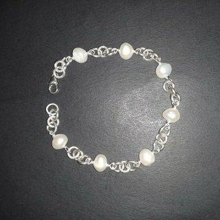 925 sterling silver baroque freshwater pearl bracelet