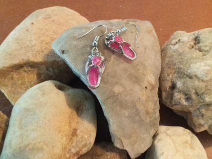 ❤️Cute Pink Faux Opal Turtle Beach Sandals -NEW