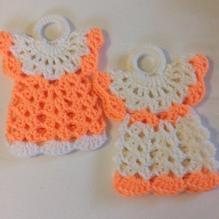 Spring  Specials. Two (2) Hand Crochet Beautiful Dress PotHolders.