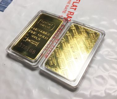1 Oz .999 Fine GOLD Credit Suisse Coin Bar Replica Novelty FREE SHIPPING