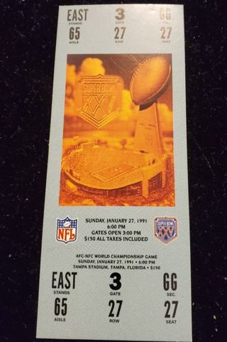 1991 Collectible Super Bowl Sticker Ticket Mint Condition
