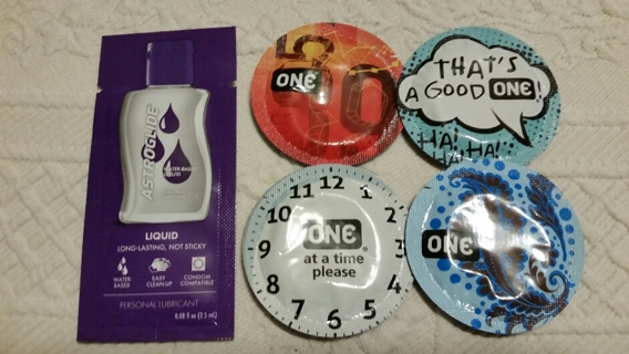 4 ONE Brand Condoms and a Pack of Lube - Good Times!