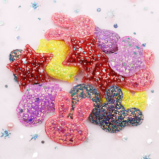 10Pcs Glitter Fabric Star Heart Sequins Appliques Padded Patches