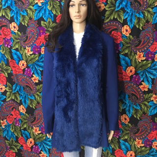 Vintage Faux Fur Blazer Women's Big Coat Fox Fur Jacket Size 20W FREE SHIPPING