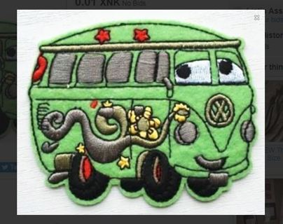 "1 NEW FILMORE VAN Patch IRON ON ADHESIVE Pixar Cars Volkswagen Transporter Bus ""USA SELLER"""