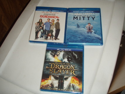 BRAND NEW blu-ray & DVD COMBO LOT OF 3