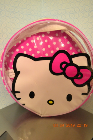 ****USED CHILD HELLO KITTY ROUND CLEAR BACKPACK***FREE SHIPPING