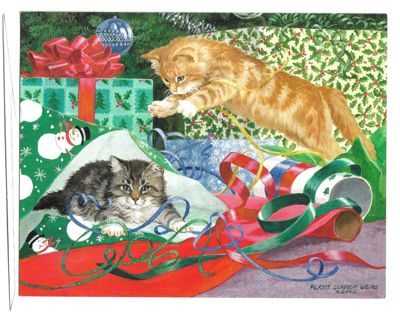 Christmas Card Unused With Envelope Kittens