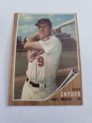 1962 topps Russ Snyder Baltimore Orioles vintage baseball card