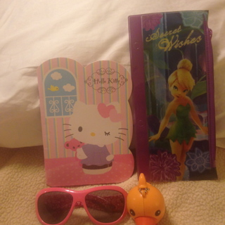 New Collector Tinker Bell Notebook Pouch, Hello Kitty, Sunglasses, Duck
