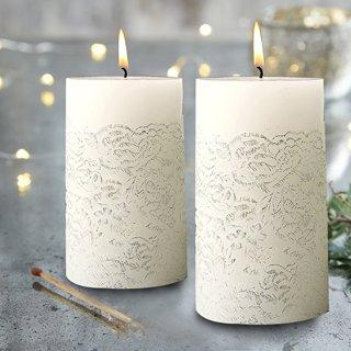 "Christmas Pillar Candles Silver 2 Pack 5"""