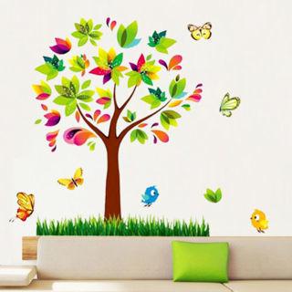 Flower Scroll Tree Butterfly Birds Wall Sticker Mural Decal Kids Room Decor