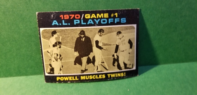 1971 - TOPPS EXMT - NRMT BASEBALL - CARD NO. 195 - A.L. PLAYOFF POWELL MUSCLES TWINS