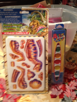 Dinosaurs Adventure 3 D Full Color model KIt and a sealed package of 8 watercolors and brush