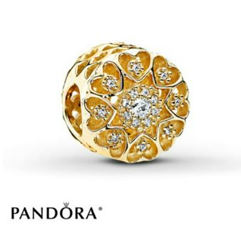 Authentic PANDORA Charm Hearts Of Gold 14K Yellow Gold