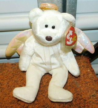 HALO TY Beanie Baby Bear Plush Collector ANGEL Stuffy w/ Tag