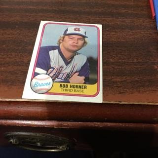 Free 1981 Fleer Bob Horner Baseball Card Sports Trading
